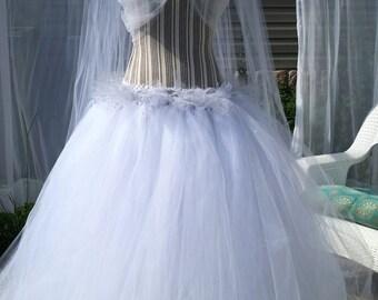 Full length white bridal skirt.