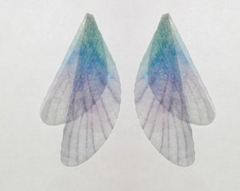 Aestheticism Jewelry Craft -  Blue silk Organza Butterfly Wings/Dragonfly Wings Aceesories- 20  Pieces,100mm