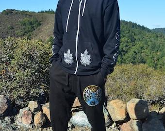 Sacred Geometry Crystal Hoodie - Sweatshirt - Flower of Life Zip Up Hoodie - Sacred Geometry Hoodie - Festival Hoodie - Mens Hoodie