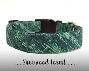 Green Teal Mint Dog Collar; Modern Dog Collar: Sherwood Forest (Collar Only)