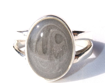 Split Shank Band Cremaintion Ring with  11 x 9mm Oval Setting - Sterling Silver Pet Cremation Jewelry