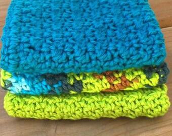 Cotton washcloths - crochet washcloths - cotton dishcloths - crochet dishcloths - free shipping - vegan - 100% cotton - ecofriendly