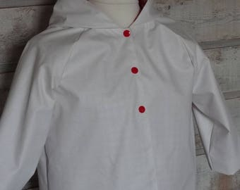 Wax/waterproof lined white red and white gingham 6 years