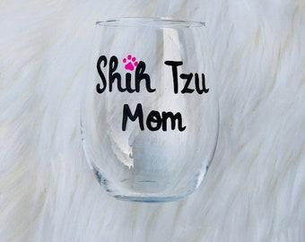 Shih Tzu Mom handpainted stemless wine glass/Dog Mom wine glass/Shih Tzu  Mom mug/Shih Tzu lover gifts/Shih Tzu Mom wine glass/Shih Tzu Mugs