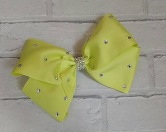 "Large 8"" Yellow Boutique Hair Bow with Rhinestones like JoJo Siwa Bows Signature Keeper Dance Moms"