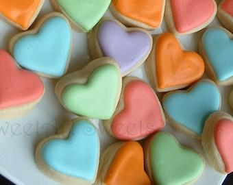 Valentine's Day cookies - 6+dozen - mini heart cookies - cookie gifts - decorated cookies