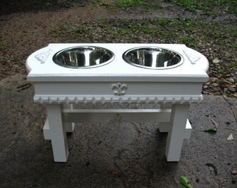 Shabby Chic Pet Feeder with Two 1 quart Bowls, Antique White, Pet Feeding Station, Elevated Pet Feeder, Dog Feeding Stand