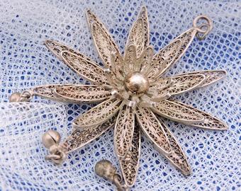 Vintage large silver plated filigree flower pendant Fliligree Flower