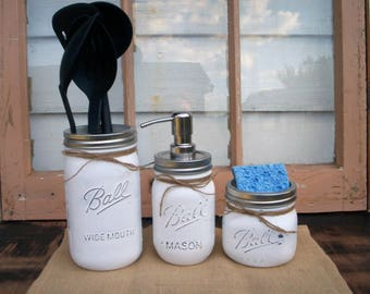 Mason jar kitchen set, rust-proof, soap pump, rustic kitchen, country decor, farmhouse, shabby chic, painted mason jars, mason jar soap pump