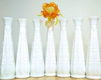Vintage Milk Glass Vases: Set of 7 All the Same Pattern White Bud Vase
