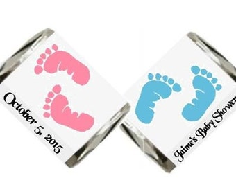 30 Baby Footprints Baby Shower Hershey Nugget Candy Label Wrapper Favors Stickers ~ Choose your color