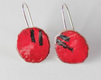 Colorful Red Round Earrings - Geometric Design - Glass Enamel  OOAK