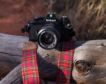 Red Plaid Flannel Camera Strap for DSLR or SLR camera. Lightweight. Camera accessories. Canon camera strap. Nikon camera strap. Photographer
