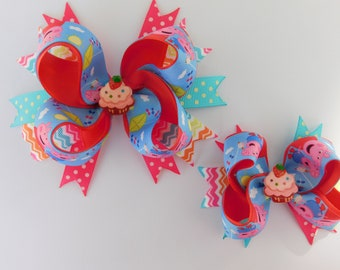 Set of 2 Bows, Peppa Pig Hair Bow, Peppa Pig Outfit, Colorful Hair Bow, Peppa Pig Party, Peppa Pig Birthday, Spring Bow, gift for girls