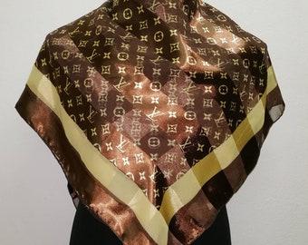 "FreePost scarves Louis Vuitton monogram nice conditions (38""x38"") S036"