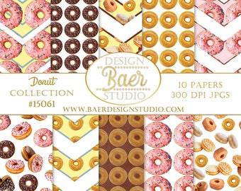 Digital Paper Commercial Use:Donut Digital Paper, Chocolate Donut Digital Paper, Donut Scrapbook Paper, Pink Donut Digital Paper