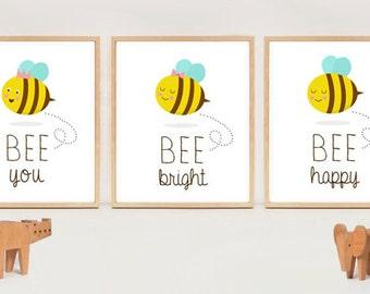 Printable nursery wall art - Little bees - INSTANT DOWNLAOD