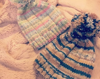Hand knit/knitted pom pom hats