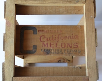 California Melons Couture Farms Vintage Wooden Fruit Crate