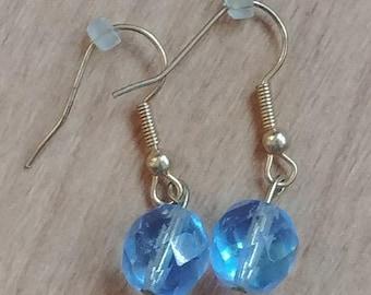 SALE Periwinkle Bicone Crystal Beaded Earrings
