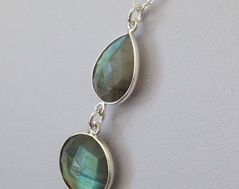 Sterling Silver Multi-Shaped Drop Pendant featuring Labradorite with a Sterling Silver Necklace