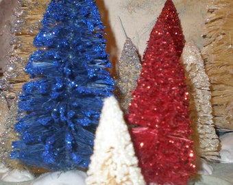 Color Sisal tree trio: red, blue, white bottle brush trees