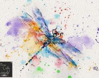Dragonfly Watercolour Art Print