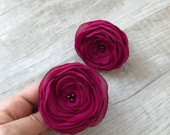 Set of 2 Pigtail Chiffon flowers on elastic holder, Ponytail holder, hair tie set, elastic hair ties, hair jewelry, flower hair accessory