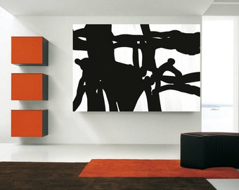 Abstract Painting on canvas Large PAINTINGS Black and White Huge wall Art painting Modern contemporary painting By Artist Jerry Titan