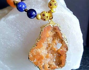 Spring Sale 15% Large Orange Druzy Quartz Pendant Statement Necklace with Orange Chalcedony and Sodalite