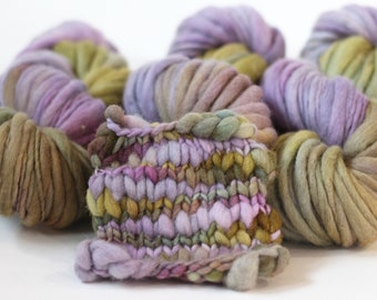 "Hand dyed yarn thick and Thin Yarn hand spun merino ""Lavender Wash"", knitting yarn, dollmaking, weaving, crochet"