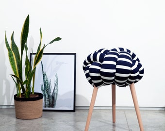 Dark blue and white stripes Knot stool, design chair, modern chair, industrial stool, wood stool,