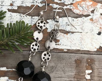 Elegant Black Earrings-Reconstructed--Boho Earrings