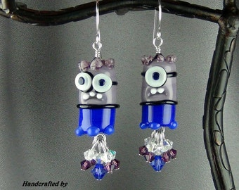 """Evil Minions Lampwork Glass Beads, Purple, Blue, Black & White, Swarovski Crystals, SS Earwires, 2 1/2""""-  Hand Crafted Artisan Jewelry"""