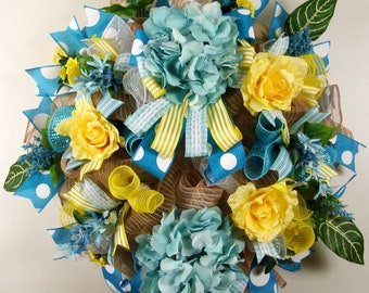 Everyday Floral Mesh Wreath, Turquoise Hydrangea, Yellow Roses, Mesh Wreath, Floral Wreath