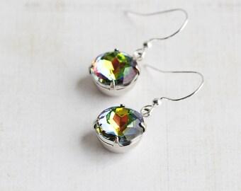 Rainbow Earrings, Vitrail Rhinestone Earrings on Silver Plated Hooks, Colorful Jewelry (Choose Your Hook Style)