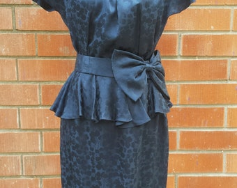 Vintage 80s Argenti Navy Blue Silk Peplum Dress Womens 6 Jacquard Print Belted Midi Dress