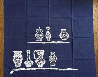 Vintage Furoshiki, Japanese Wrapping Cloth, Pot Pattern, Eco Wrapping, Cotton, Craft Suplise, Interior decoration, 1968s, Katazome, Blue
