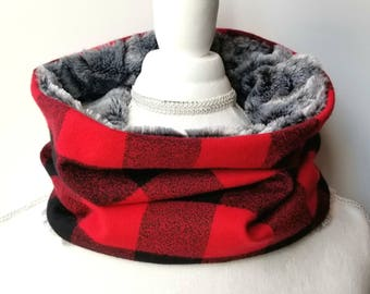 Red and Black Buffalo Plaid Cowl - Womens Scarf - Winter Cowl - Plaid Scarf - Faux Fur Cowl - Single Loop Scarf - Stitched With Joy Co