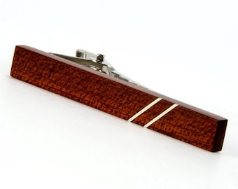 Wooden Tie Bar Wood Tie Clip Bloodwood Silver Inlay Mens Wooden Gift for Him Mens Jewelry Gift For Dad Gift For Boyfriend ValentinesDay Gift