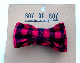 Red and black flannel bow tie