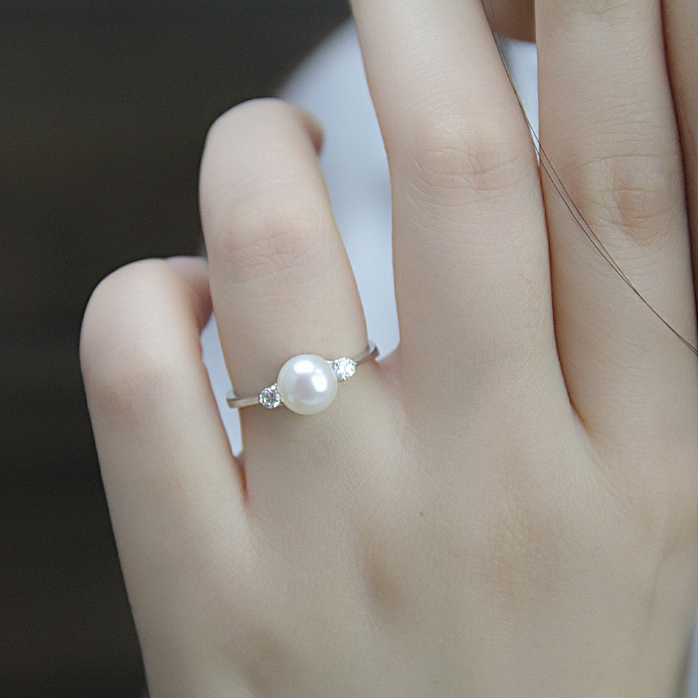 rings pearl engagement real catbird sandwich ring