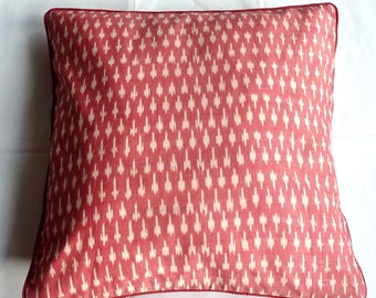 Ikat Red and White Throw Pillow, Cushion, 50x50 with Red Piping, 100PCT cotton, filling included [Extra 20% off with voucher]
