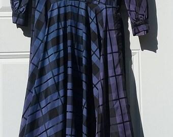 1950 50s Blue & Black Plaid Taffeta Shirt Dress
