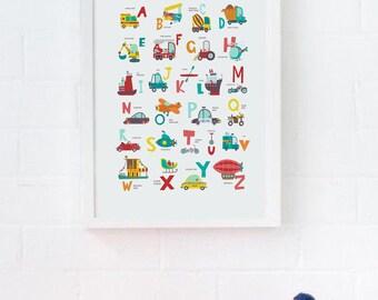 Alphabet Print, Cute Cars Wall Art, Cars Nursery Wall Art, Plane Fire Truck Print, Alphabet Poster, Car Themed Nursery Decor Transportation