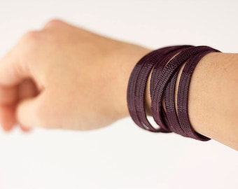 Leather Bracelet / Skinny Sliced Wrap Cuff / Dark Plum Sparkle