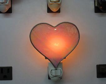 Heart Night Lights x2 - Ready to Ship -  Stained Glass Heart Night Lights - Pink Iridized & Pink Matte Heart Night Lights