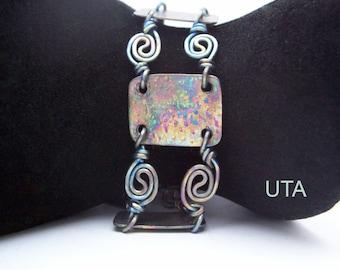 Titanium Bracelet Geometric Bracelet Wire Wrap Bracelet Wire Rose Jewelry Futuristic Bracelet Boho Bracelet Modern Jewelry Square Bracelet