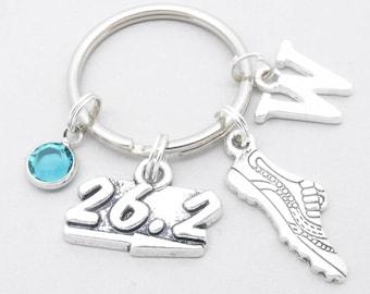 Marathon runner monogram keyring | marathon runner keychain | personalised running keyring | gift for marathon runner | running shoe