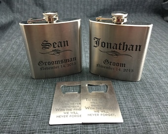2 Sets Of Laser Engraved Stainless Steel Flask & Bottle Opener  - 10 Designs - 20 Fonts - Groomsman / Bridesmade Gift - Wedding Favor